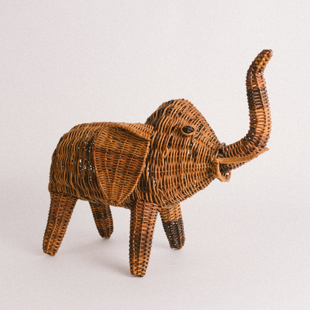 Vintage Wicker Elephant Statue