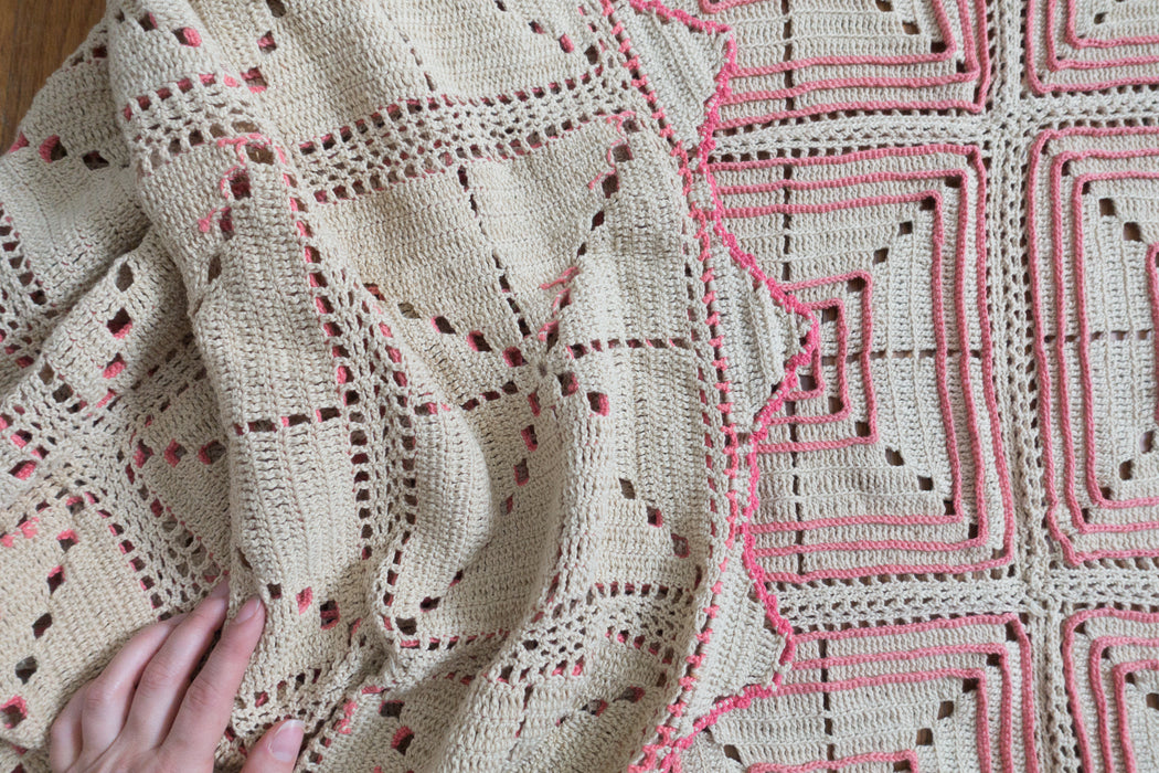 Antique Cream and Hot Pink Crochet Bedspread