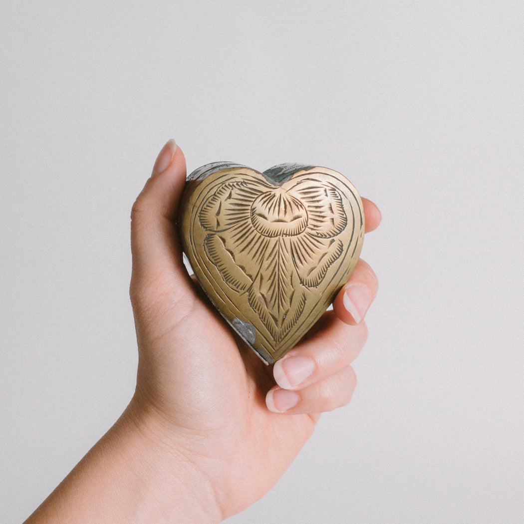 Vintage Brass Heart Ring Box