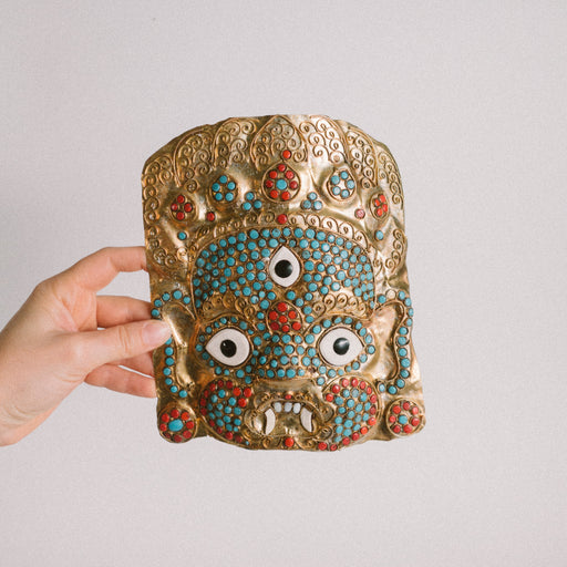 Vintage Tibetan Mahakala Mask | Brass Repousse Coral and Turquoise Wall Decor