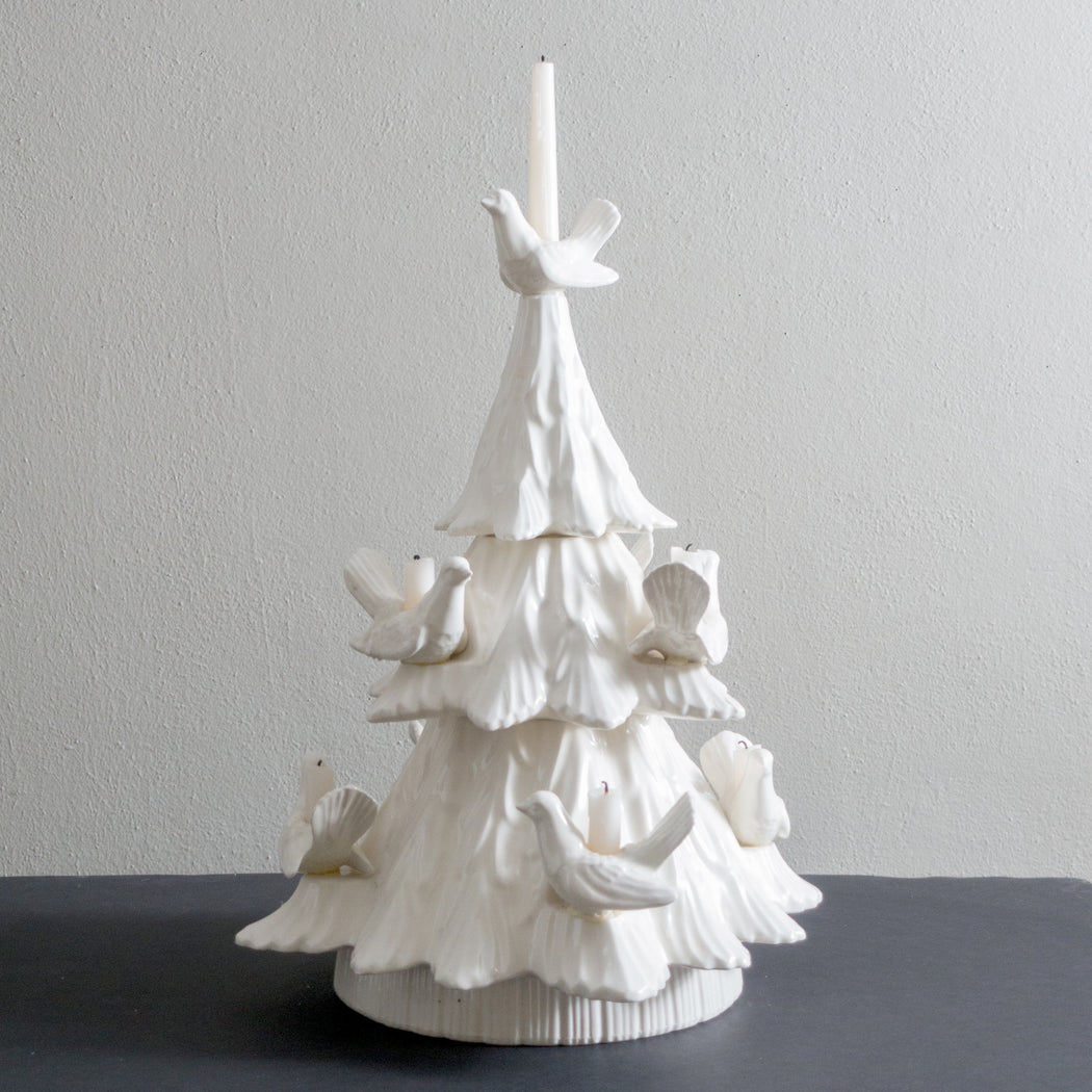 Vintage White Dove Ceramic Christmas Tree Candle Holder