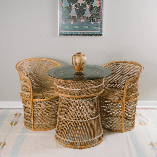 Vintage Wicker Table and Chairs Dining Set