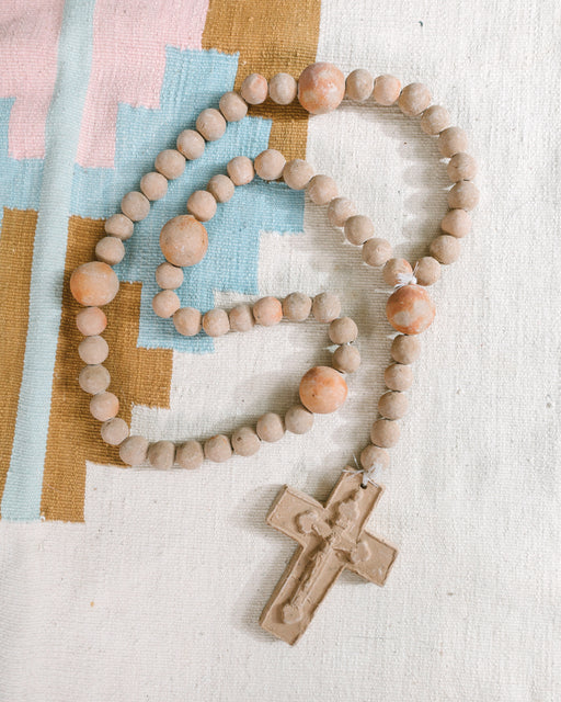 Vintage Pink Clay Wall Rosary