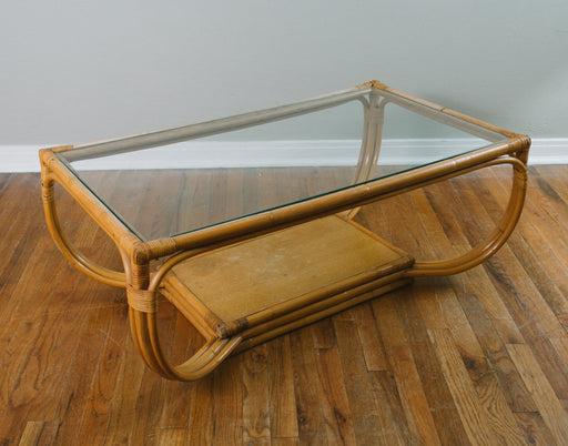 Vintage Bentwood Rattan Coffee Table with Glass Top