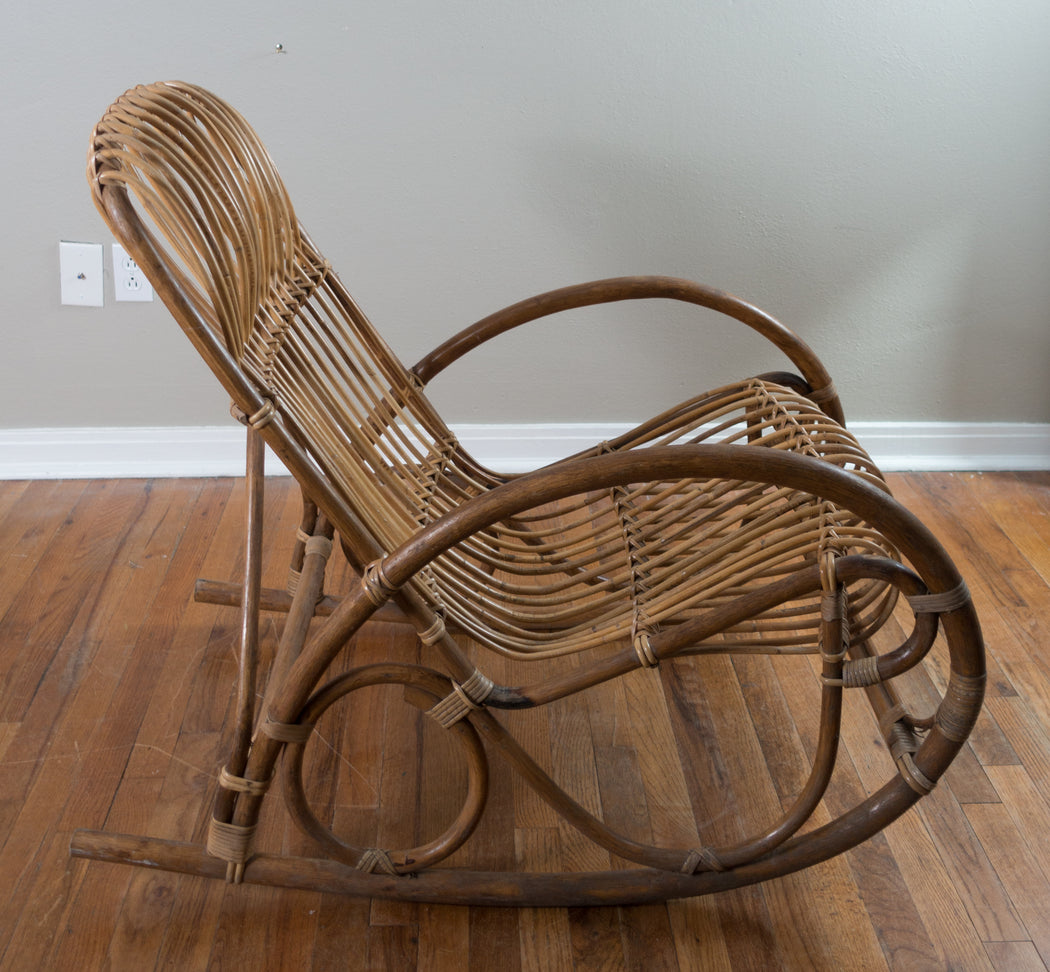 Vintage Rattan Rocking Chair | Franco Albini Bentwood Rocker