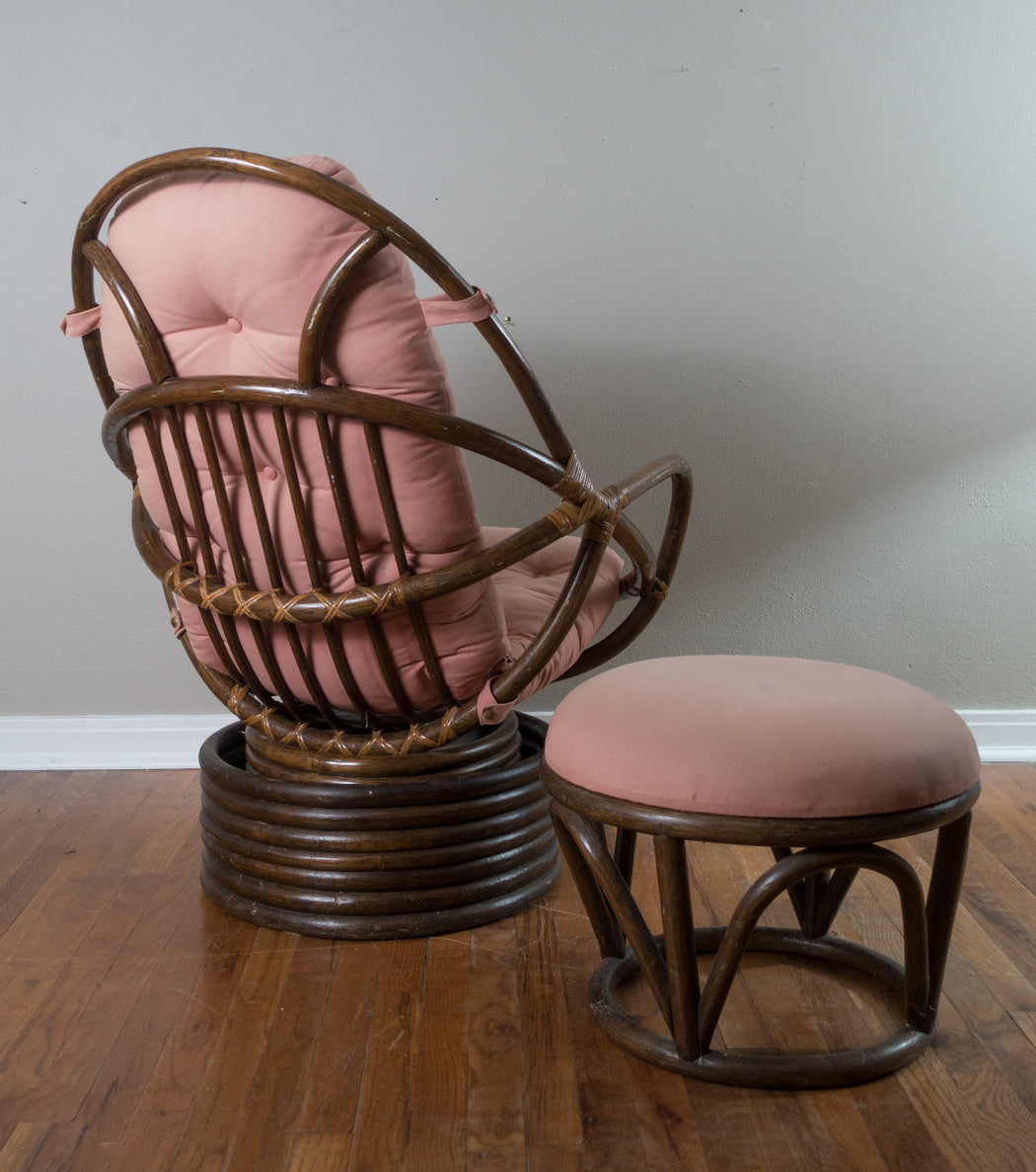 Vintage Swivel Rattan Chair with Ottoman | Pink and Brown Egg Chair