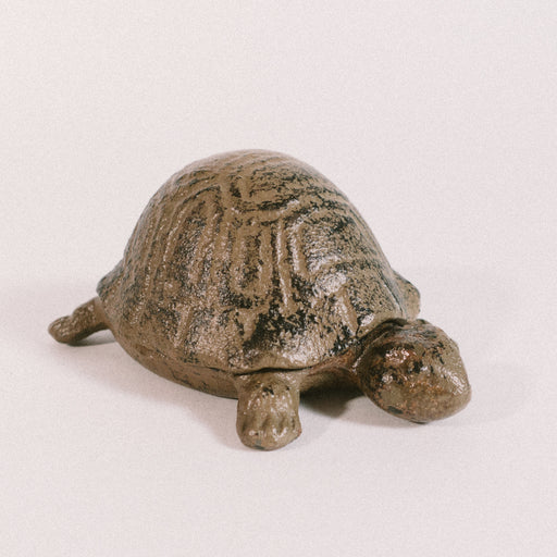 Vintage Cast Iron Turtle Trinket Box