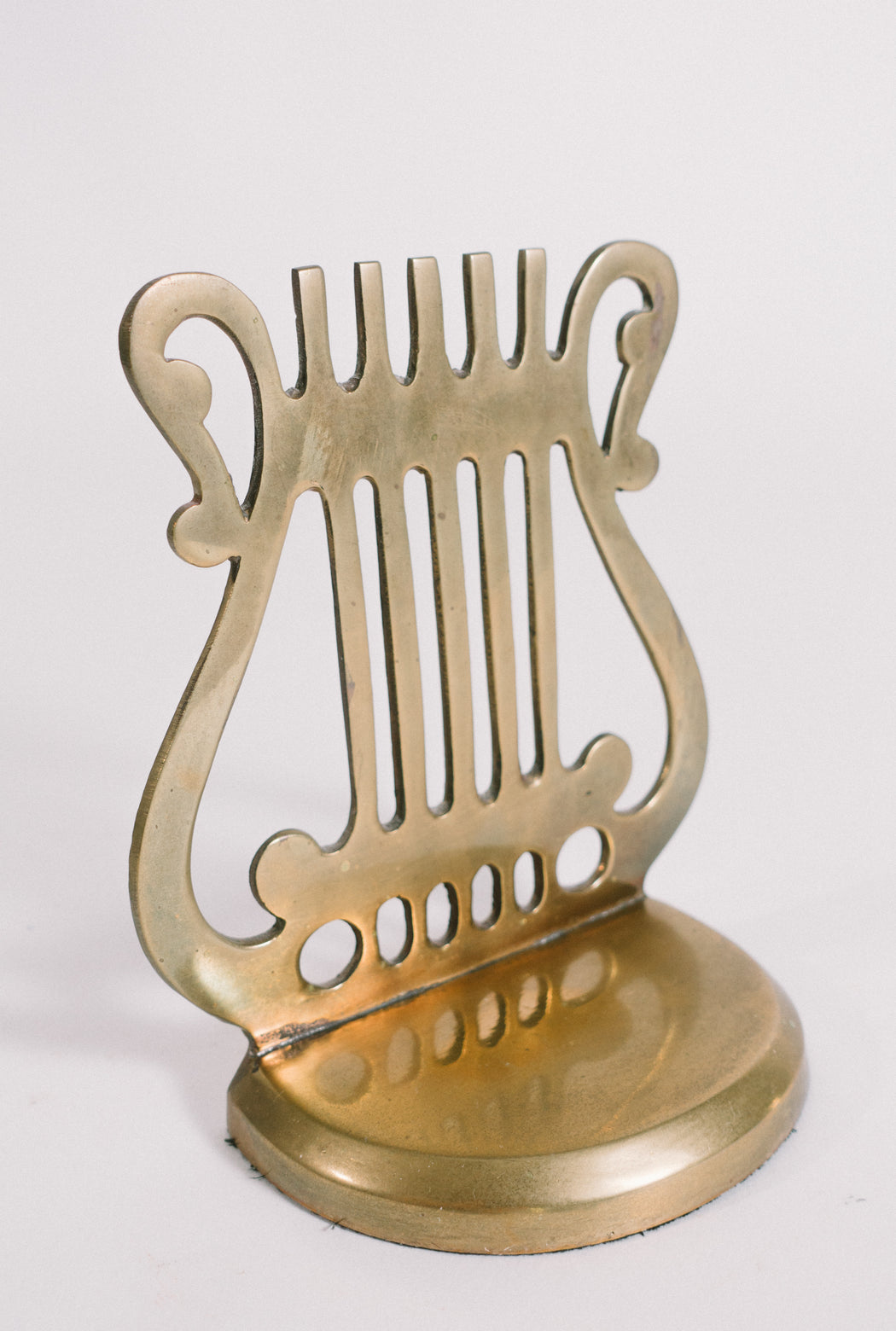 Vintage Brass Lyre Bookend