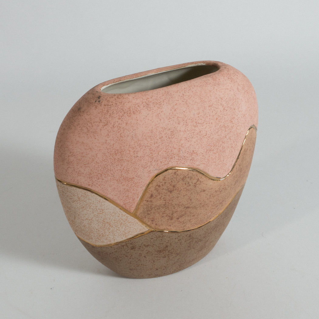 Vintage Pink and Brown Vase with Gold Detail
