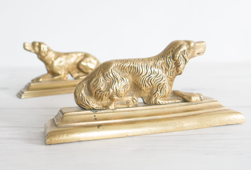 Vintage Brass Cocker Spaniel Bookends