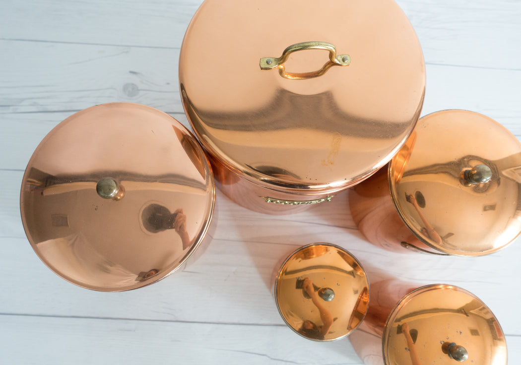 Set of 5 Vintage Copper Kitchen Canister Set