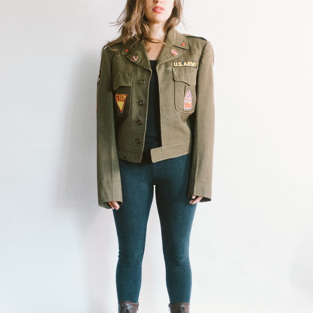 Vintage Women's Army Jacket with Hippie Patches