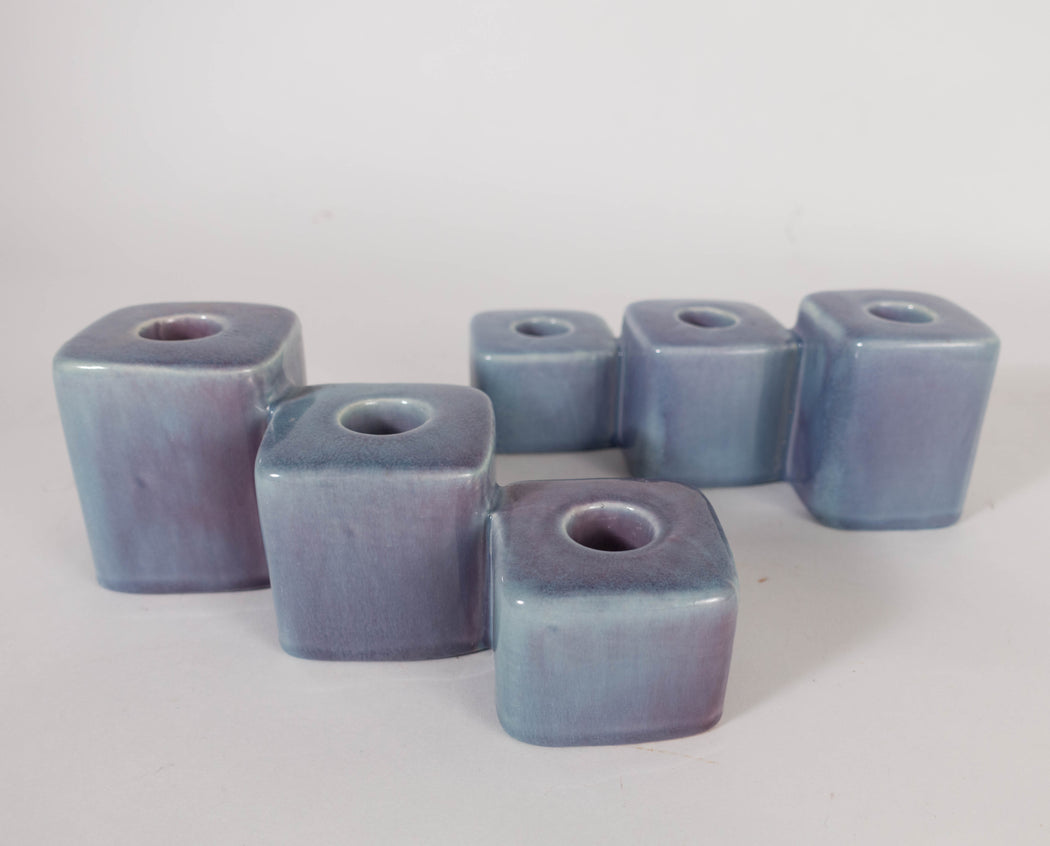 Vintage Royal Haeger Pottery Candles | Purple Candle Holder Pair