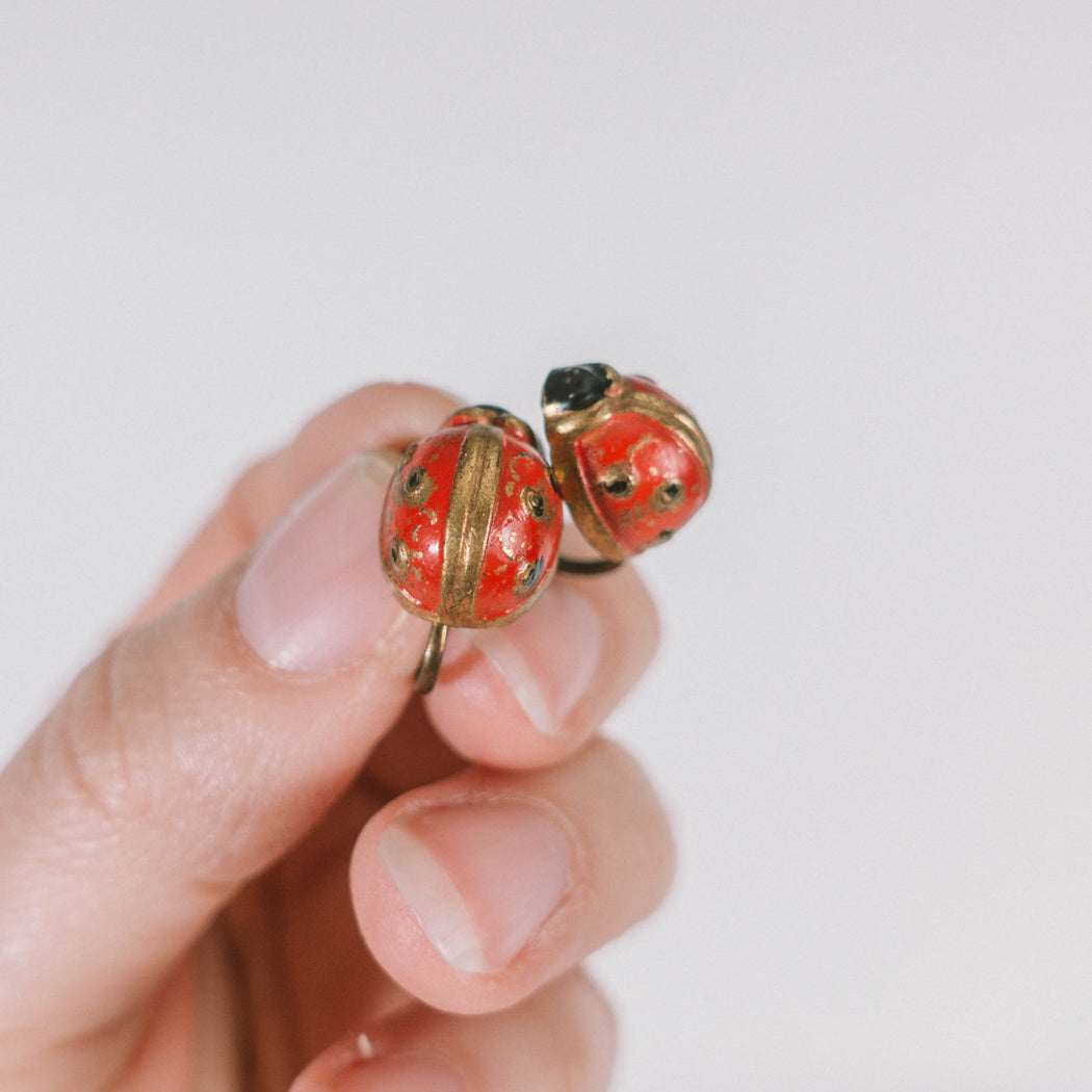 Vintage Ladybug Earrings Screw Back