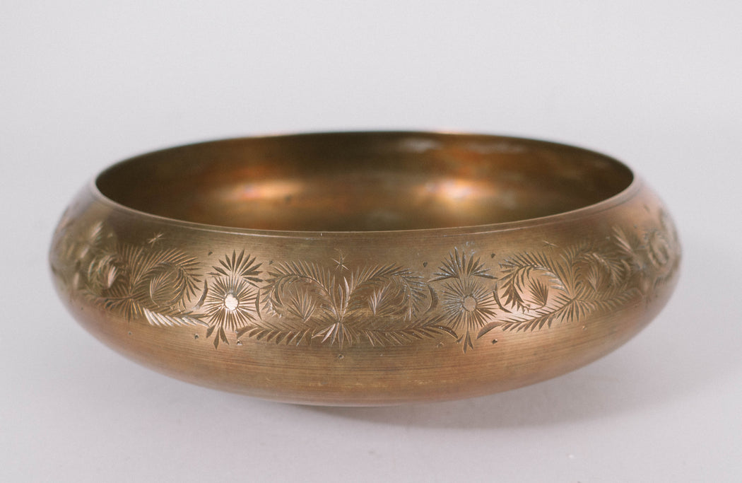 Vintage Engraved Brass Bowl