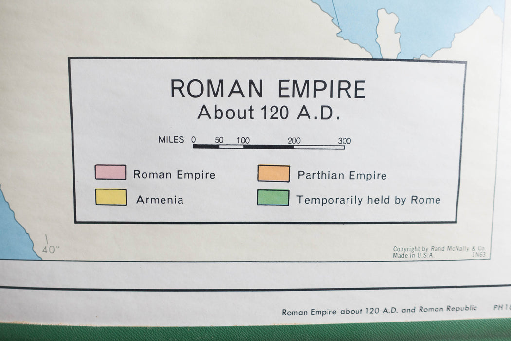 Vintage Rand McNally World History Series Roman Empire Pull Down Canvas World Map