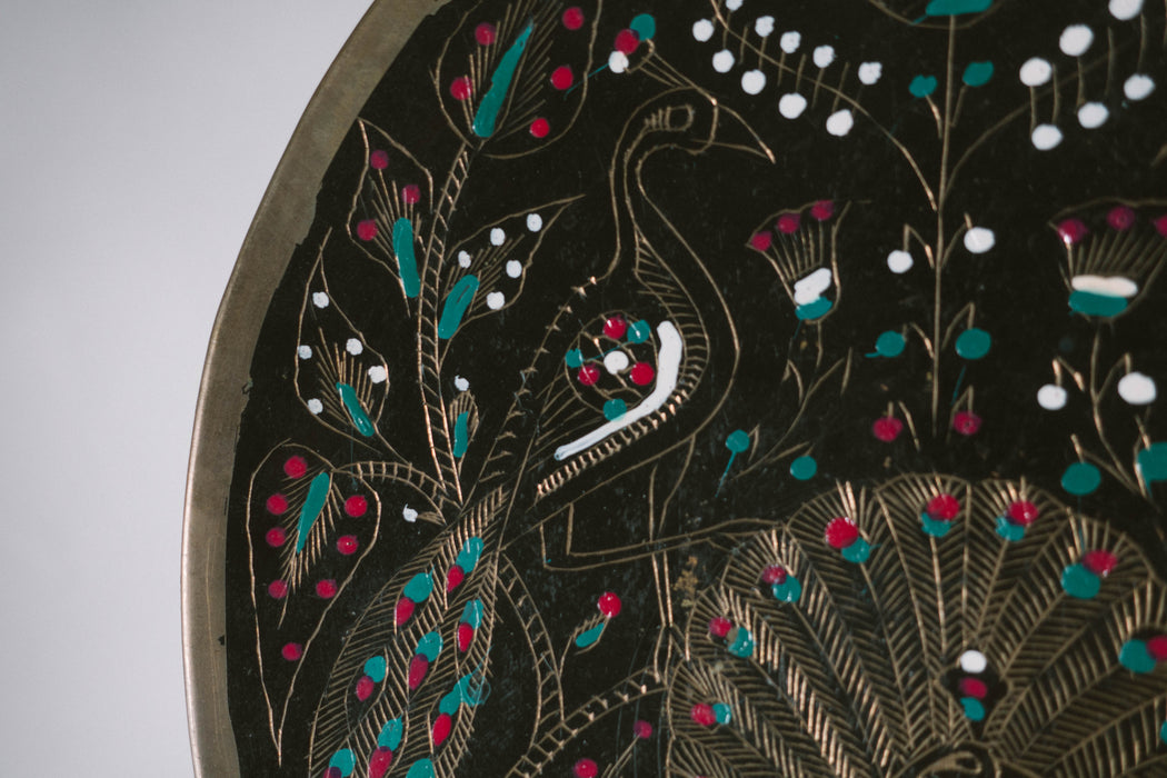 Vintage Decorative Black Peacock Plate