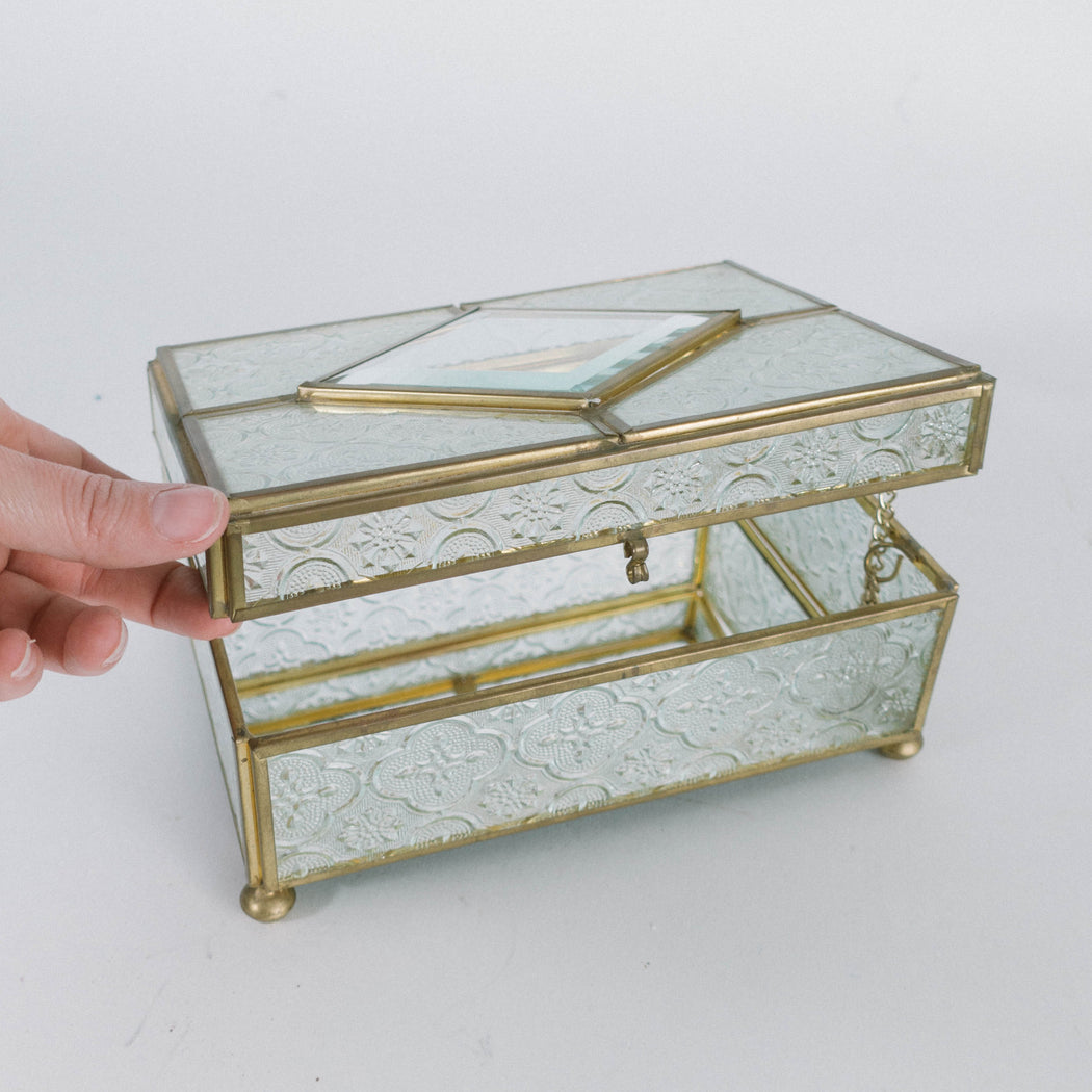 Vintage Stamped Glass Display Box with Lid | Jewelry Box