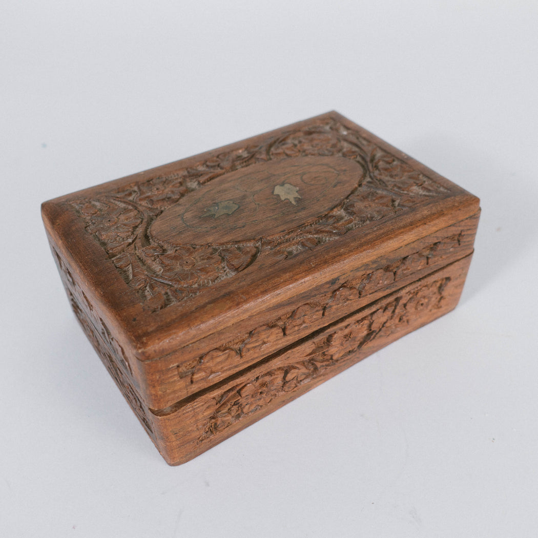 Vintage Hand Carved Wooden Box | Indian Brass Inlay Jewelry Box