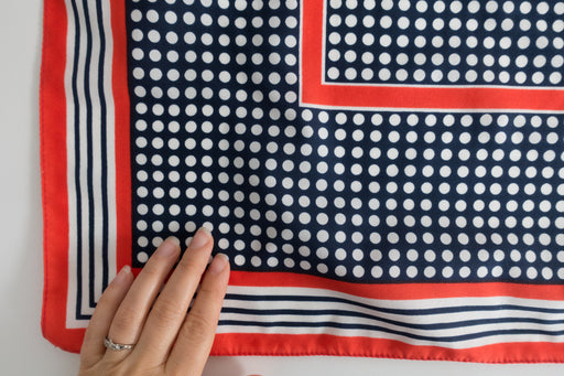 Vintage Red and Navy Polka Dot Scarf