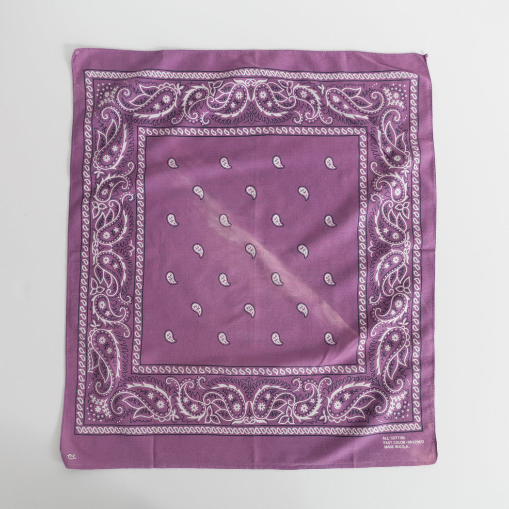 Vintage Purple Paisley Cotton Bandana