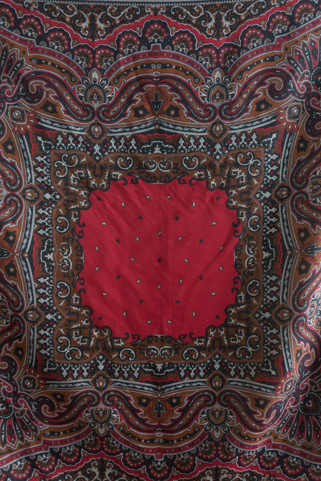 Vintage Red Paisley Scarf | Polyester Italian Shawl