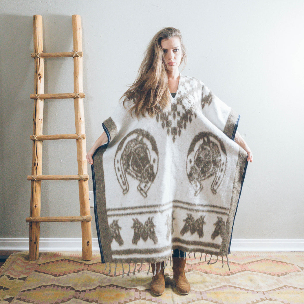Vintage Mexican Horse Poncho