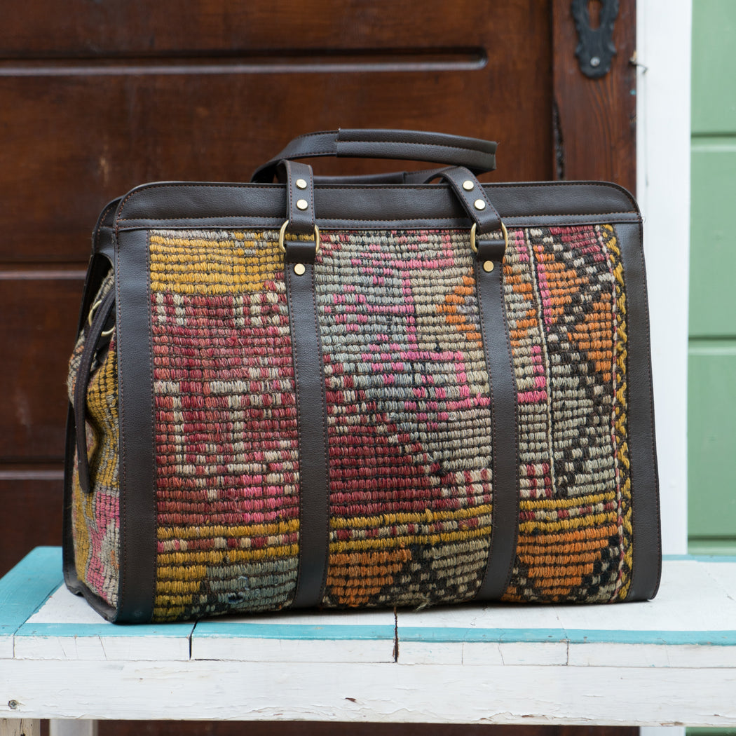 Vintage Turkish Kilim Weekender Duffel Bag