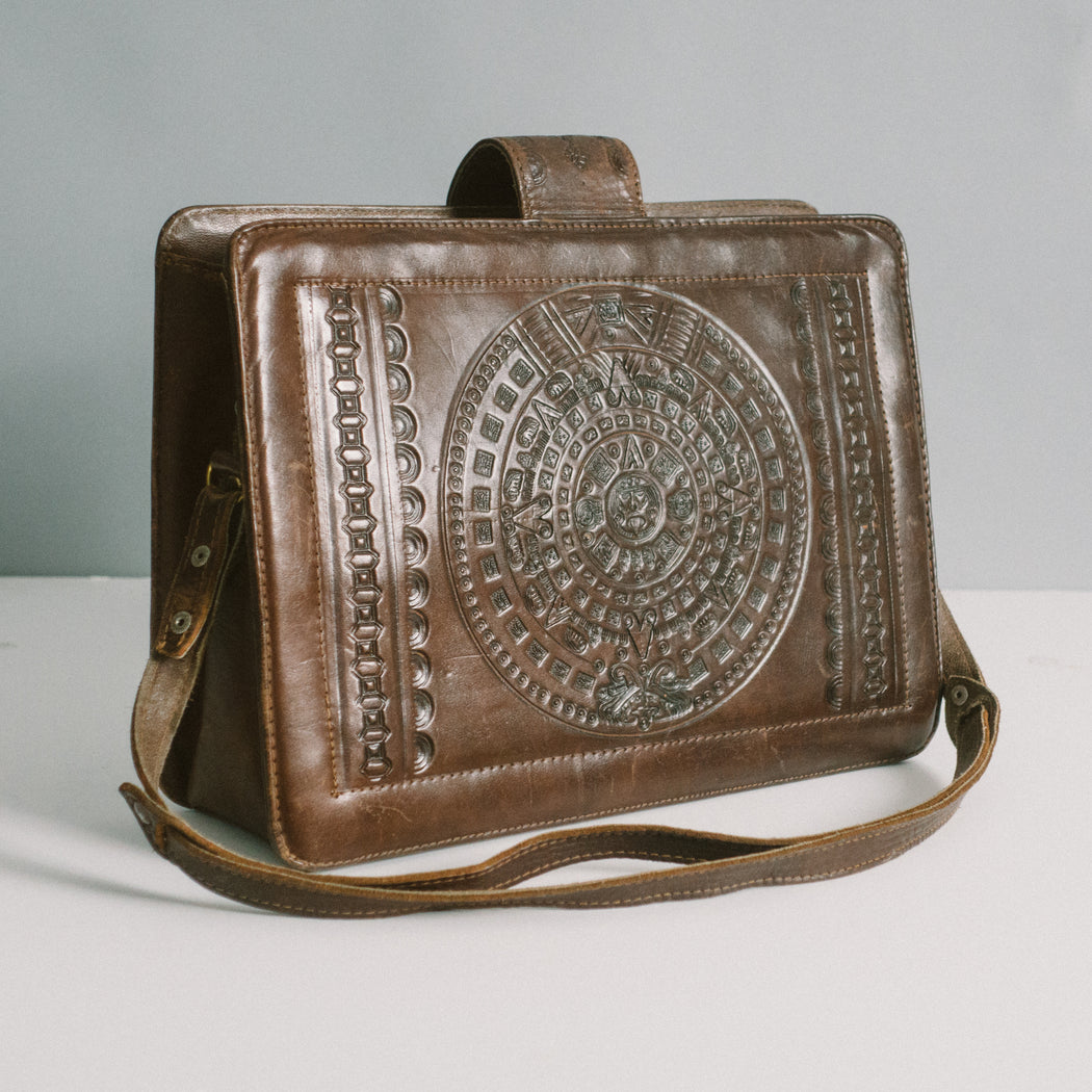 Vintage Mexican Tooled Leather Purse with Matador and Aztec Calendar