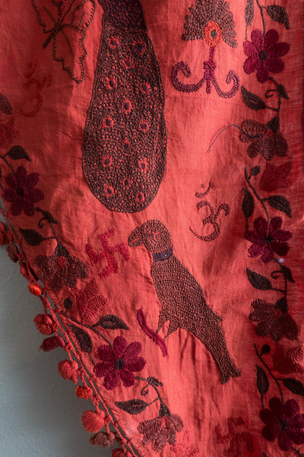 Vintage Red Handmade Indian Toran Door Valance