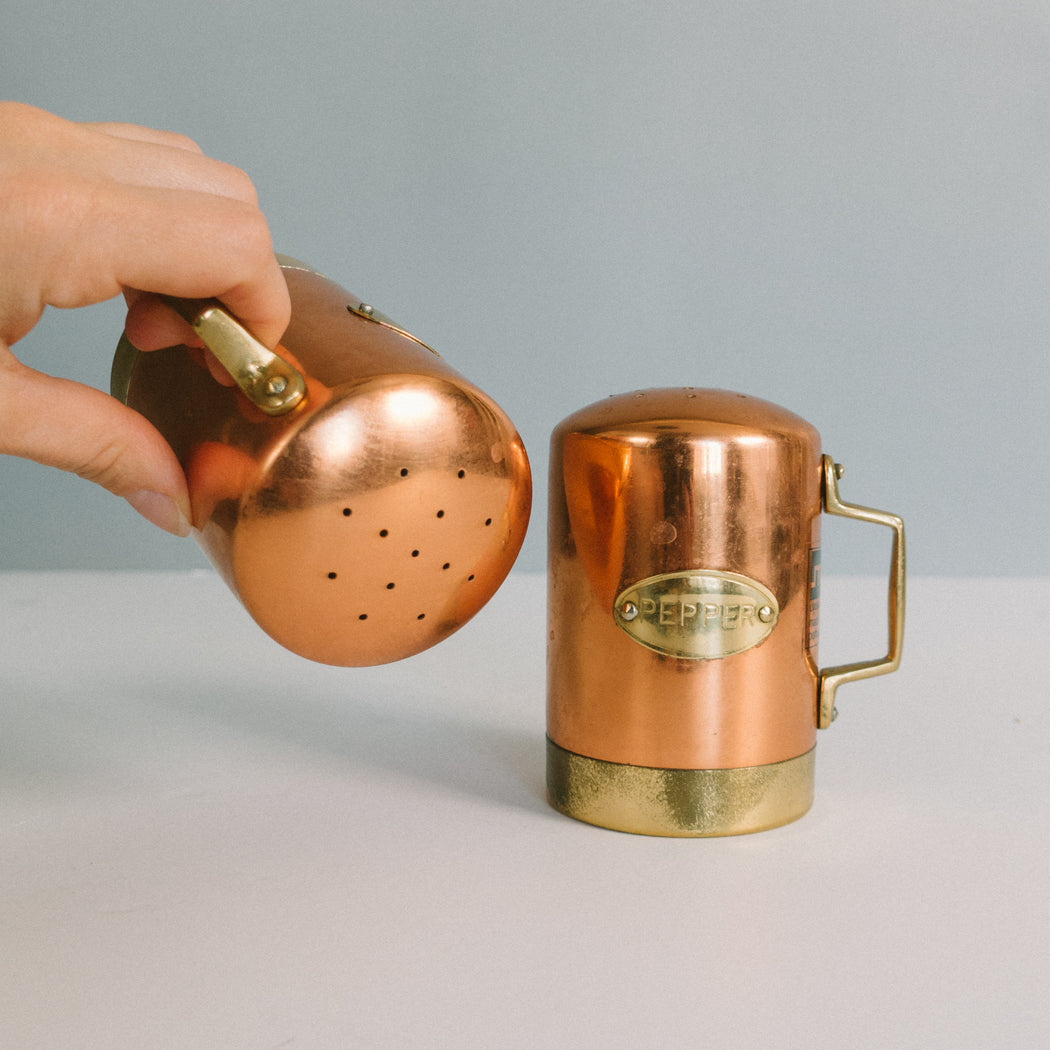 Vintage Copper Salt and Pepper Shakers
