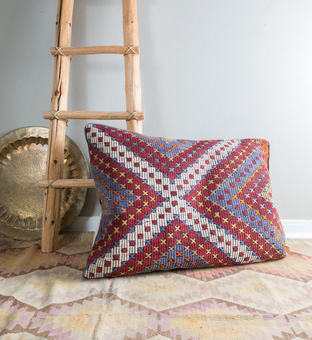 Kilim Floor Pillow | Vintage Turkish Carpet Pillow Cover