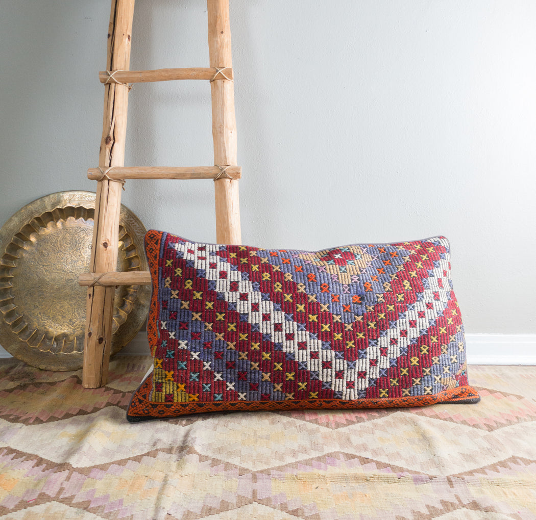 Kilim Lumbar Pillow | Vintage Turkish Carpet Pillow Cover