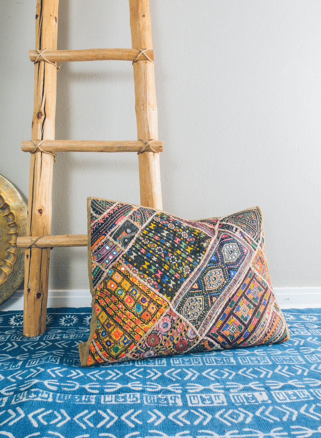 "24"" Vintage Indian Patchwork Pillowcase"