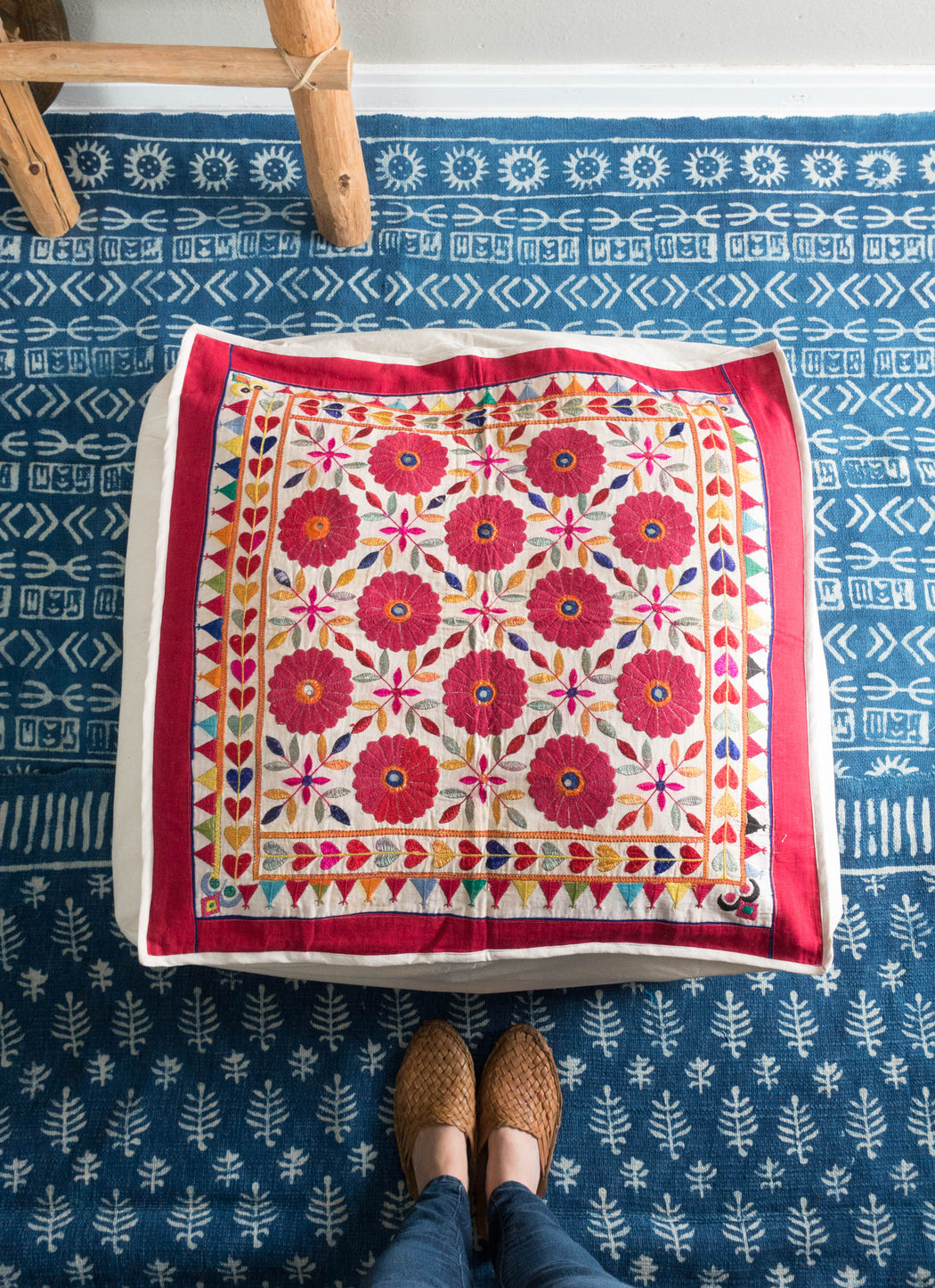 "28"" Indian Embroidered Floor Cushion"