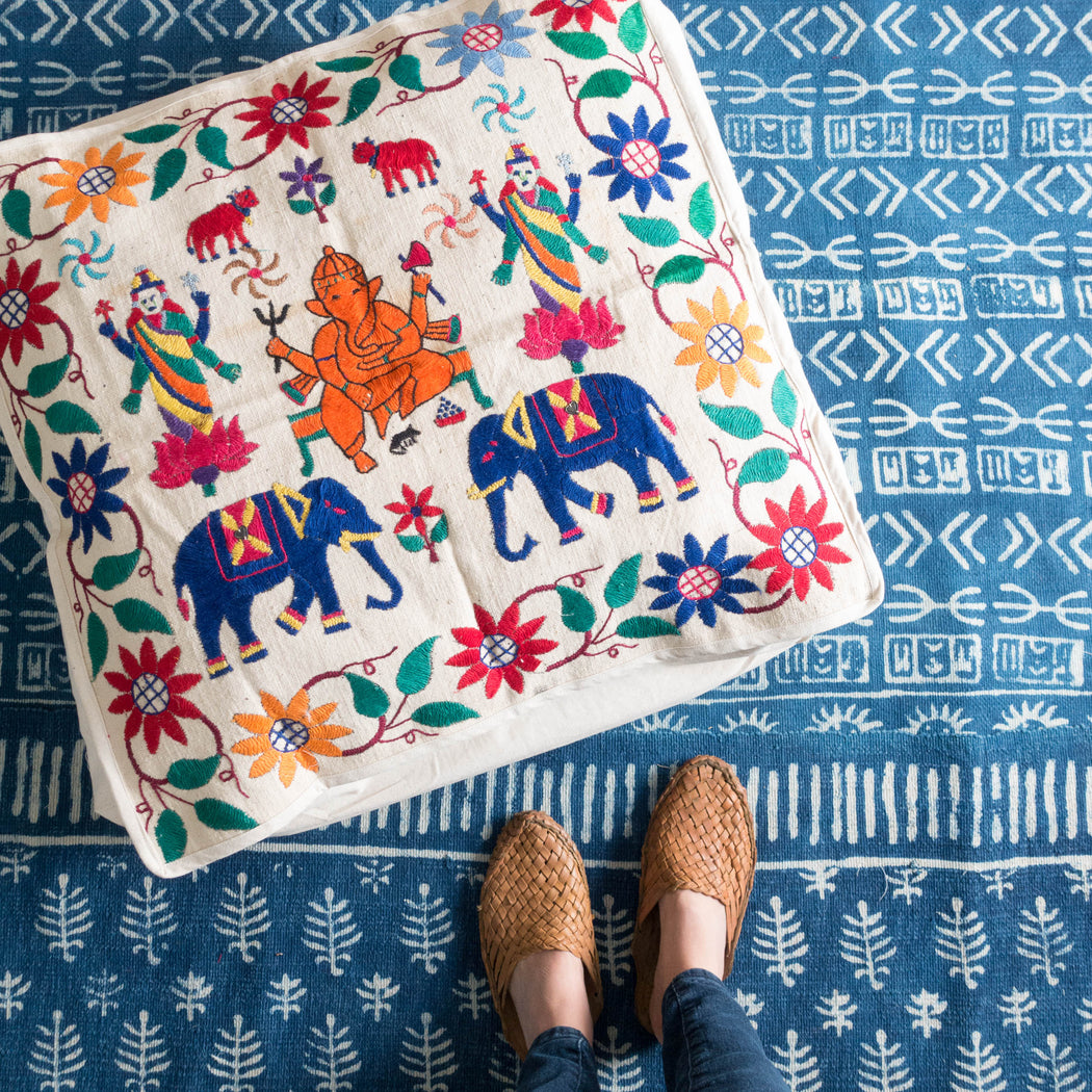 "22"" Indian Embroidered Floor Cushion"