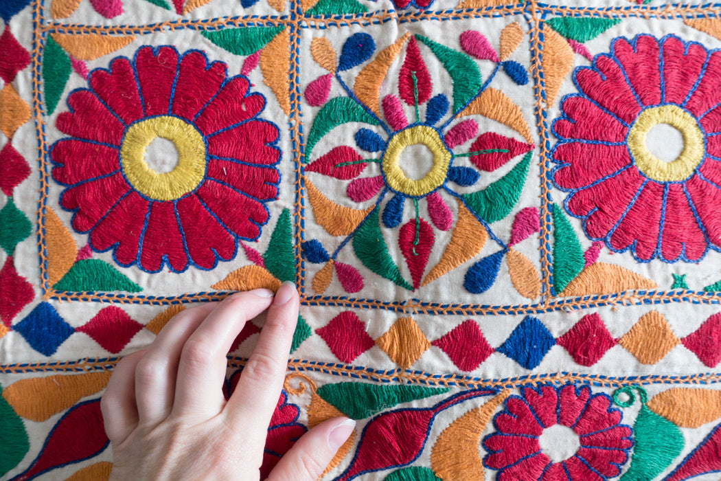 "29"" Indian Embroidered Floor Cushion"