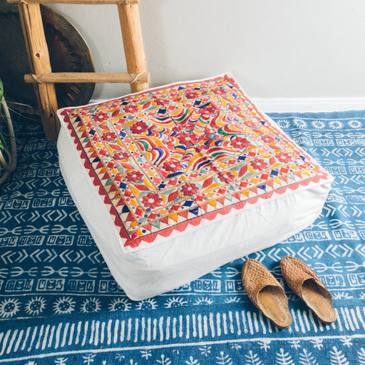"30"" Indian Embroidered Floor Cushion"