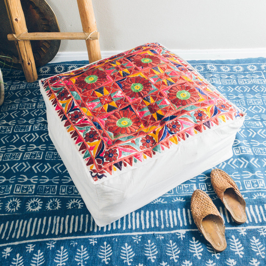 "27"" Indian Embroidered Floor Cushion"