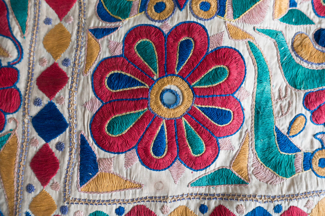 "31"" Indian Embroidered Floor Cushion"
