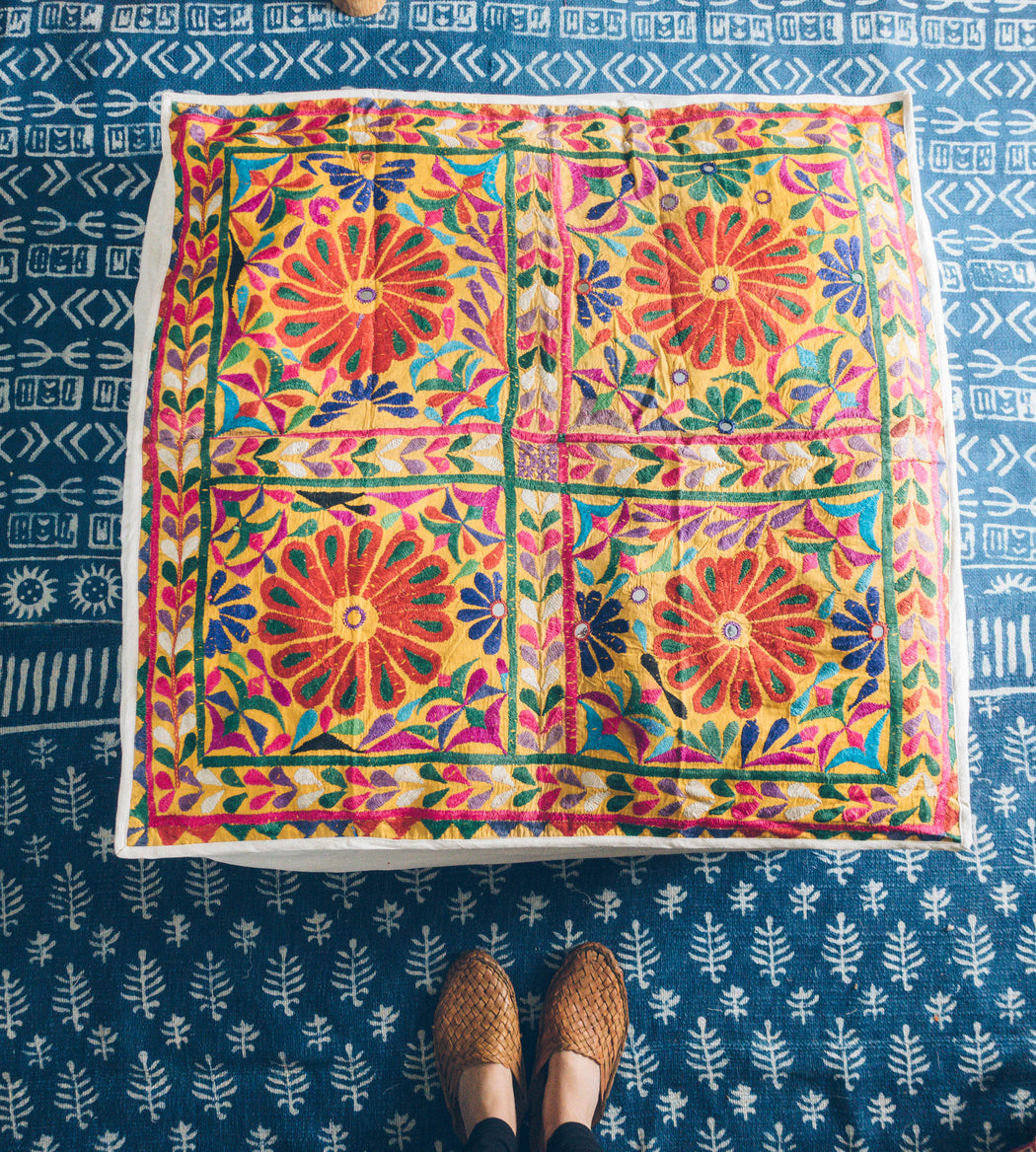 "33"" Indian Embroidered Floor Cushion"