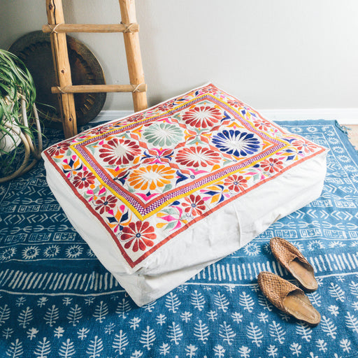 "40"" Indian Embroidered Floor Cushion"