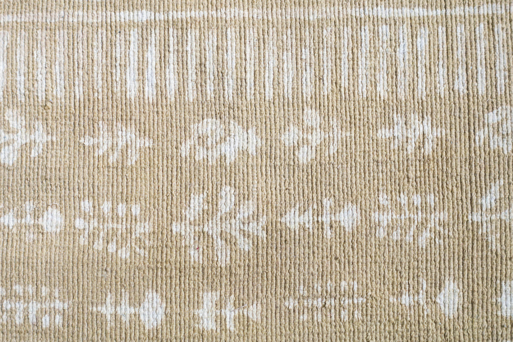 3x6 Beige Indian Block Printed Dhurrie