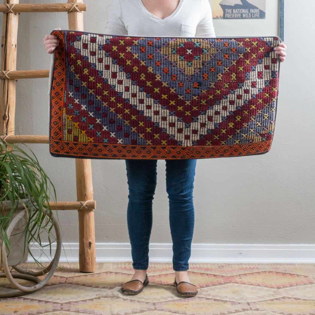 Vintage Turkish Kilim Lumbar Pillow Cover