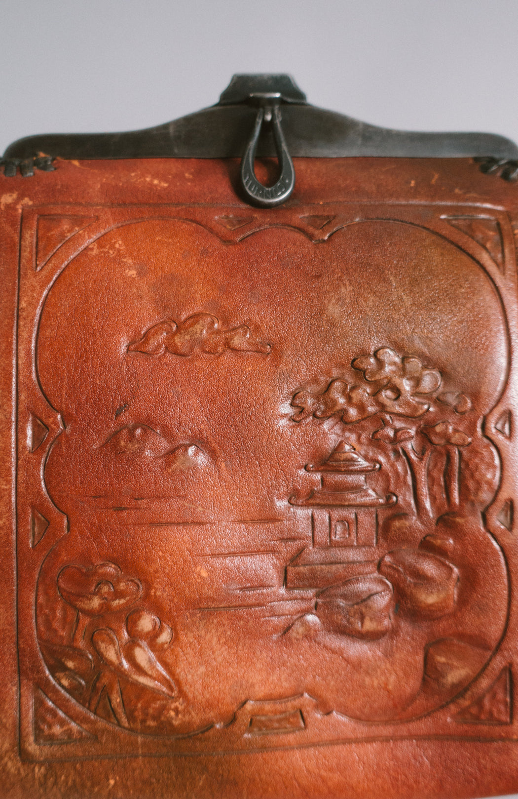 Art Nouveau Tooled Leather Purse with Japanese Garden | 1920s Cordova Shops Handbag