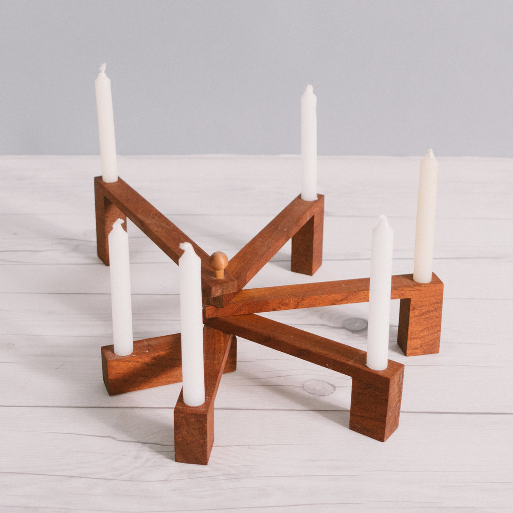 Mid Century Scandinavian Wooden Folding Candle Holder