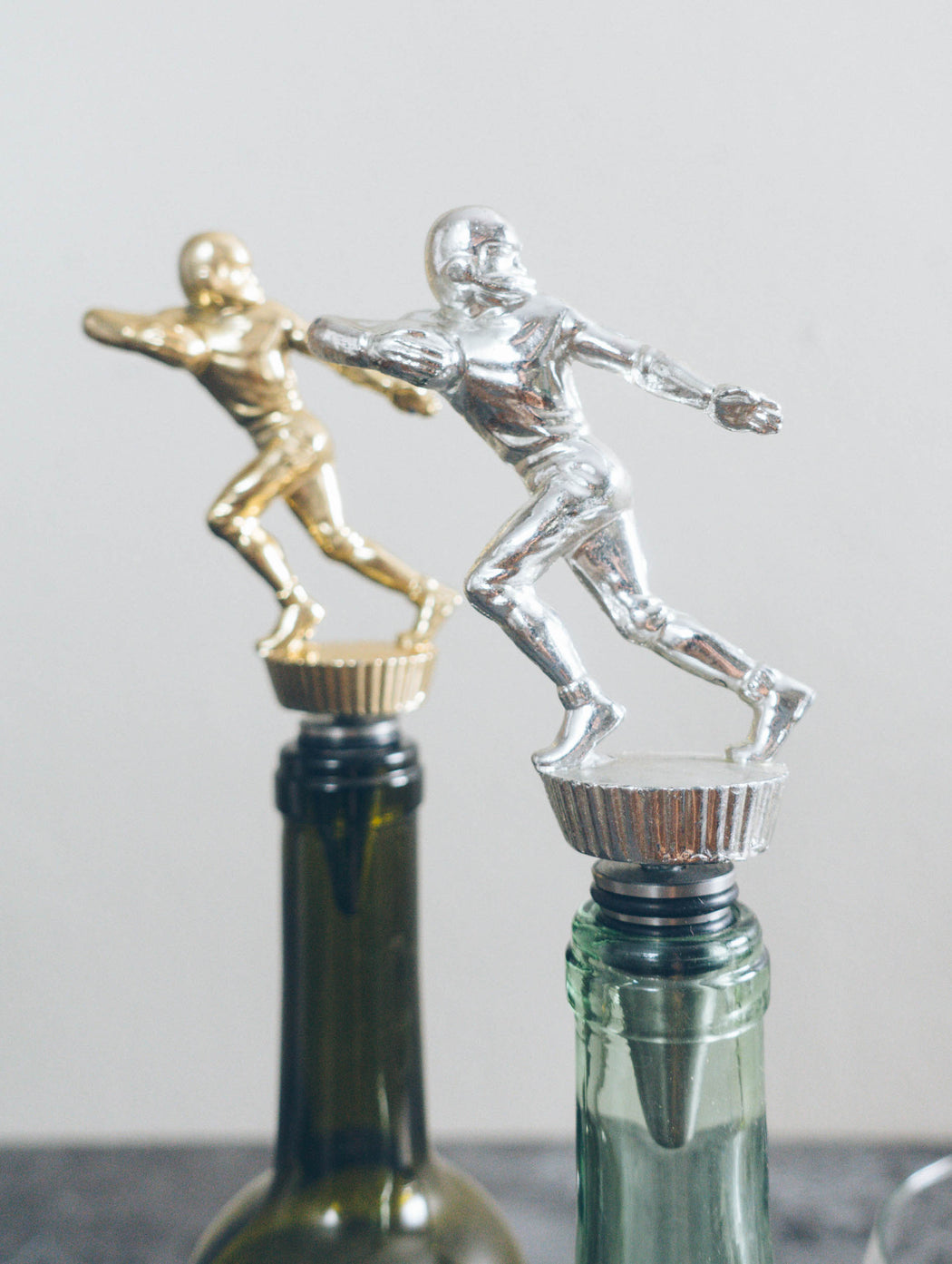 Football Running Back - Stainless Steel Vintage Trophy Wine Bottle Sto