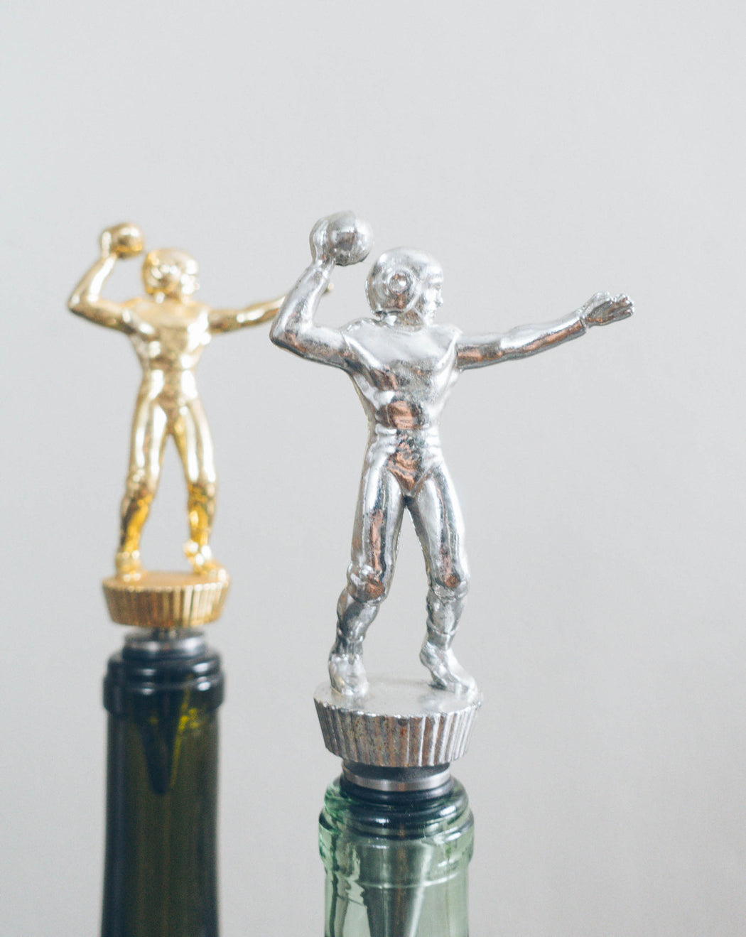 Football Quarterback - Stainless Steel Vintage Trophy Wine Bottle Stopper