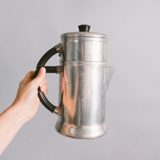 Vintage 1930's Coffee Maker | Ever Wear Aluminum and Bakelite 6 Cup Coffee Pot