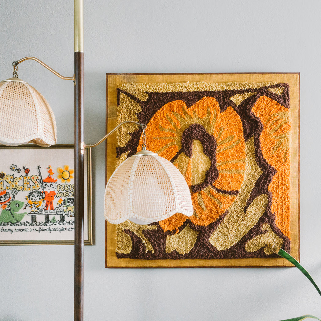 Mid Century Floral Latch Hook Wall Art